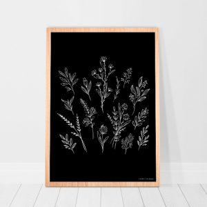 Poster-bloemen-zwart-wit