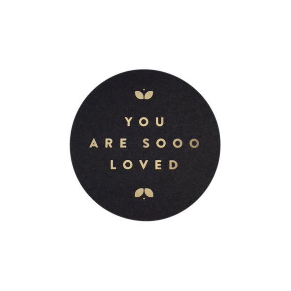 Sticker-you-are-sooo-loved-sluitsticker-zwart-goud